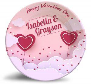 Valentine's Day personalized dinner plate. Decorative melamine plate