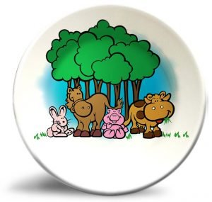 Vintage animals artwork on personalized dinner plate