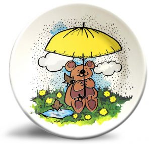 Vintage bear artwork on personalized dinner plate