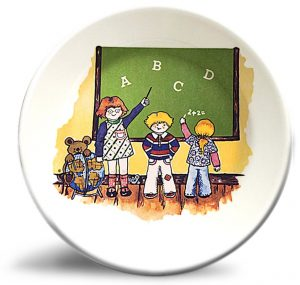 Vintage classroom artwork on personalized dinner plate