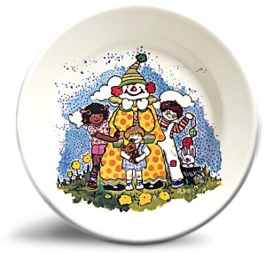 Vintage clown artwork on personalized dinner plate