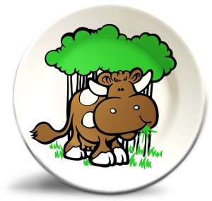 Vintage cow artwork on personalized dinner plate