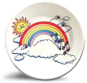 Vintage rainbow artwork on personalized dinner plate