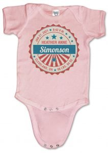"""Personalized, """"Special Delivery Stamp"""" baby onesies (creepers) for boys and girls"""