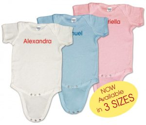 Personalized, monogrammed baby onesies (creepers) for boys and girls. 100% cotton. Great presents for showers, birthdays, and Christmas.