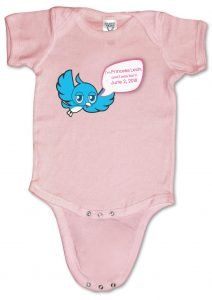 """Personalized, """"Twidder"""" baby onesies (creepers) for boys and girls."""
