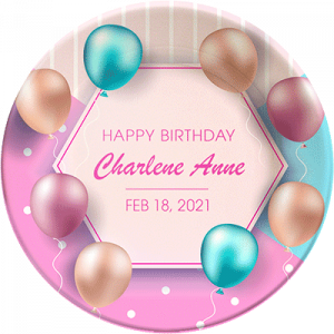 """""""Happy Birthday"""" personalized, decorative plate. Classy, colorful balloons."""