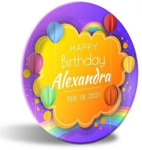 """""""Happy Birthday"""" personalized, decorative plate. Crafty, simulated paper artwork. Perfect birthday or baby shower present."""
