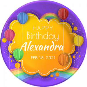 """""""Happy Birthday"""" personalized, decorative plate. Crafty, simulated paper artwork."""