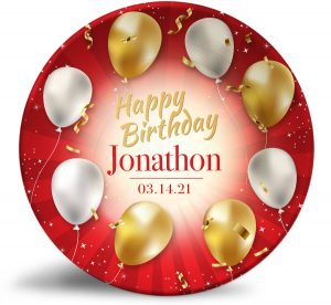 """""""Happy Birthday"""" personalized, decorative plate. Red ribbons, gold and white balloons. Perfect birthday or baby shower present."""