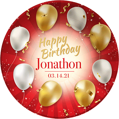 Decorative, personalized dinner plates for birthdays
