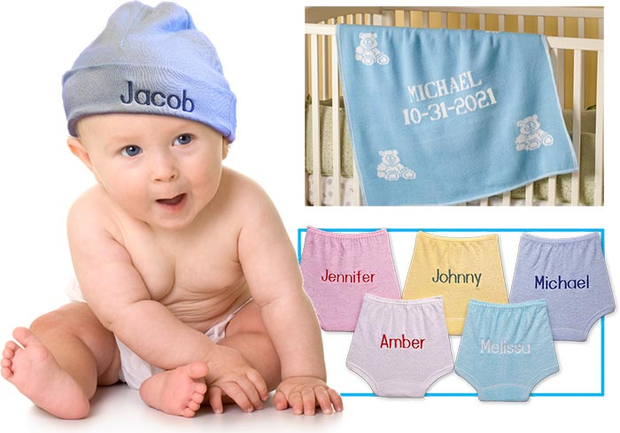 Personalized baby hats, blankets