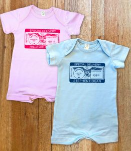 """Personalized, """"Special Delivery"""" short for boys and girls. A cross between our famous rompers and onesies."""