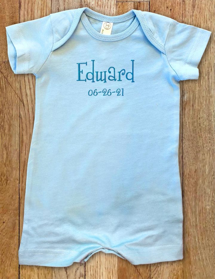 Blue, personalized, monogrammed short for boys and girls. A cross between our famous rompers and onesies.