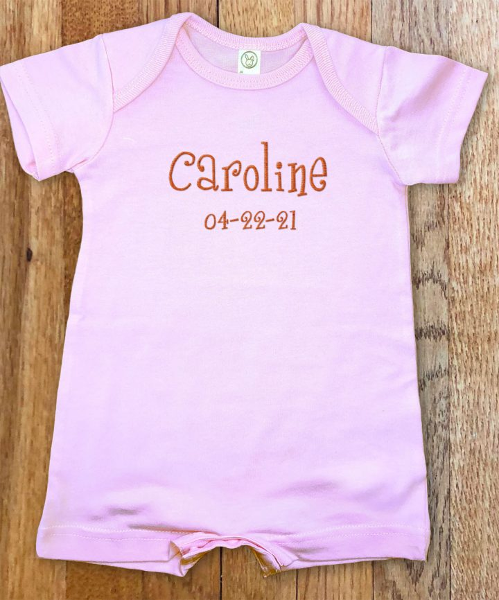 Pink, personalized, monogrammed short for boys and girls. A cross between our famous rompers and onesies.