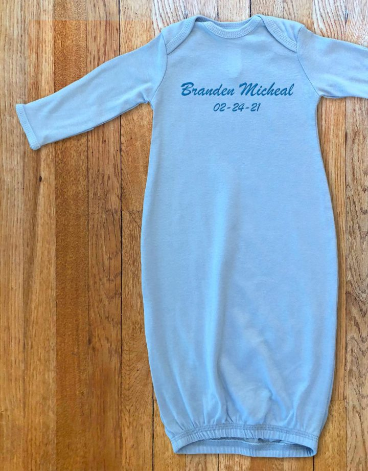 Blue, personalized, monogrammed Sleeper for baby boys and girls.