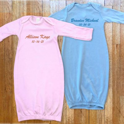 Personalized, monogrammed Sleeper for baby boys and girls. Choice of pink or blue