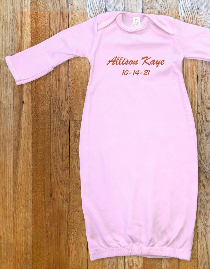 Pink, personalized, monogrammed Sleeper for baby boys and girls.