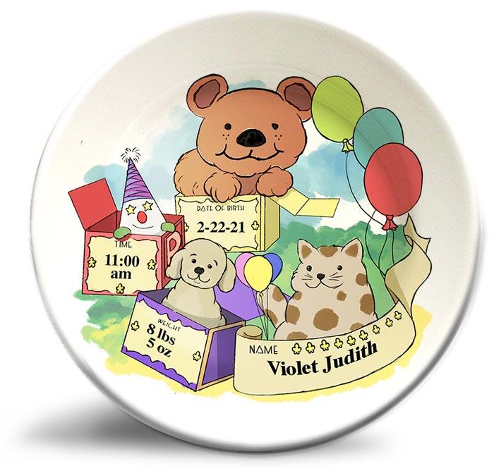 Happy Birthday Bear, vintage plate for kids