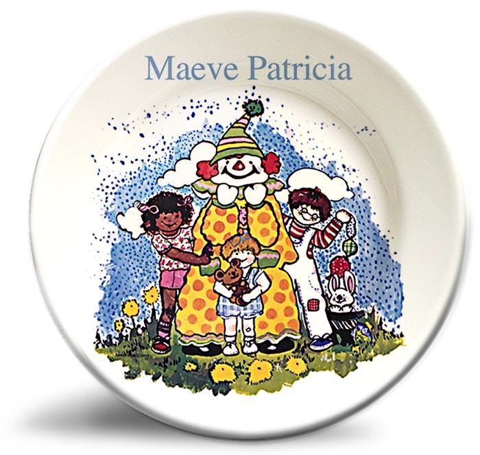 Vintage clown, personalized, decorative plate