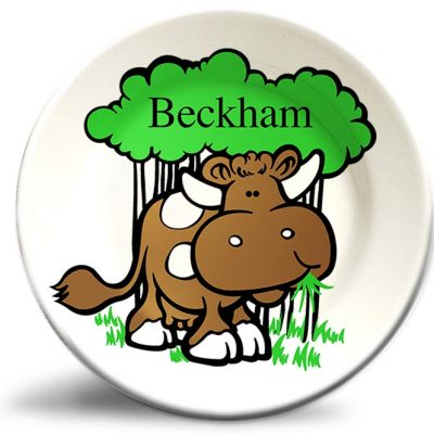 Vintage cow personalized dinner plate for kids