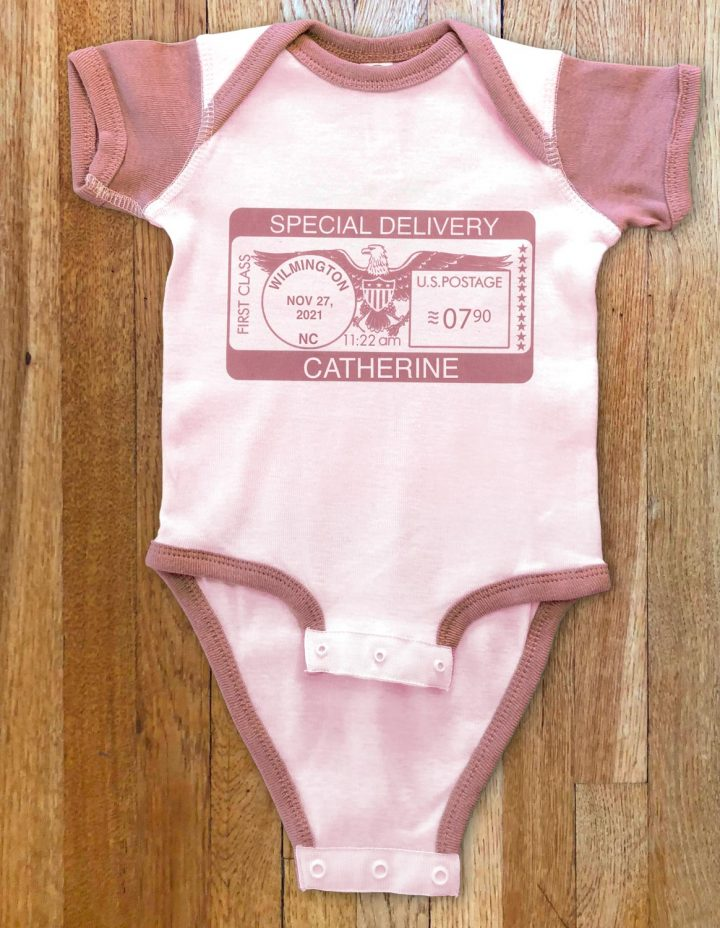 Onesie and hat combo in mauve and rose colors. Perfect gift for baby through toddler.